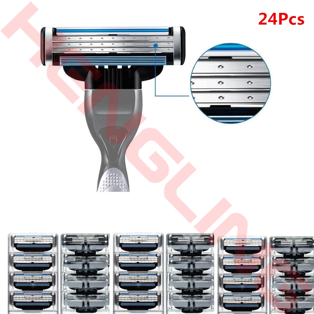24 Pcs/Set Men's Face Blades Beard Shaver Sharp Blades Cartridges For Gillette Mach 3 Generic Replacement Shaving Razor