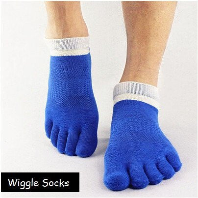 Wiggle Socks: Unisex Toe Socks, Toe Separator Socks, Five Finger Socks, 5 Toe Socks, 5 Finger Socks, Toe Shoe Socks: Blue White