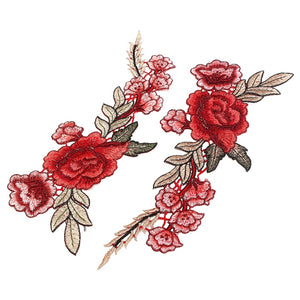 2pcs Beautiful Rose Flower Floral Collar Sew Patch Applique Badge Embroidered Bust Dress Handmade Craft Ornament Fabric Sticker
