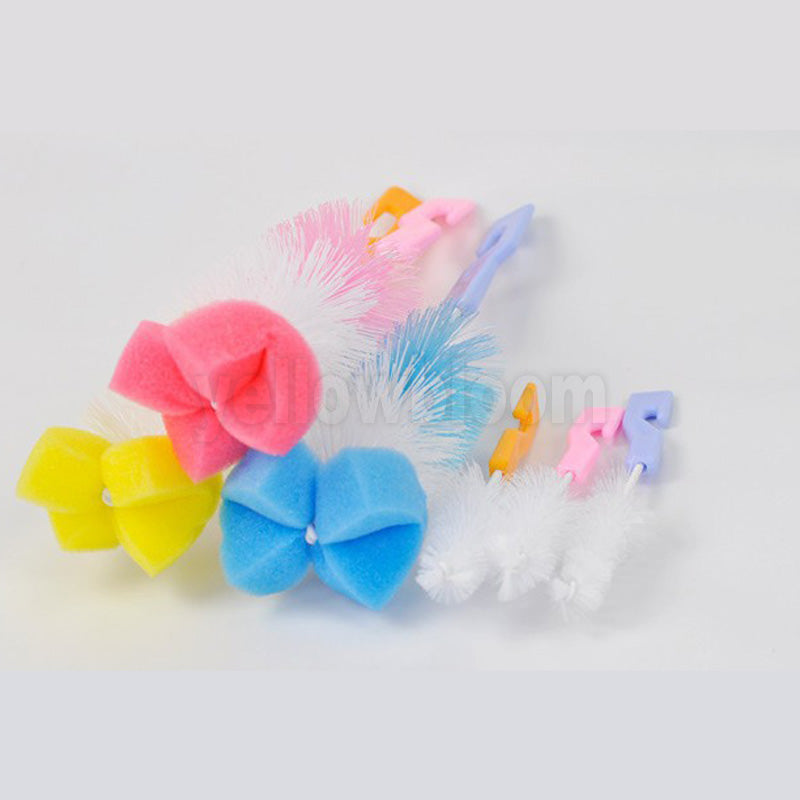 2pcs/set Baby Bottle Brush Nipple Brush Milk Feeding Bottle Brushes Teat cleaning Brush Bottle Sponge rotating washing