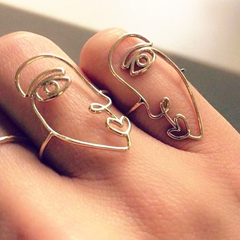 2pcs/set Wire Geometric Double Broken Heart Face Ring Set Women Friend Best Gifts Punk Cool Finger Rings Jewelry aneis feminino