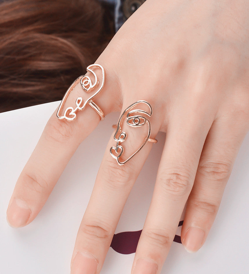 punk face friend jewelry products set best cool aneis double wire ring heart women rings engagement gifts geometric broken feminino finger