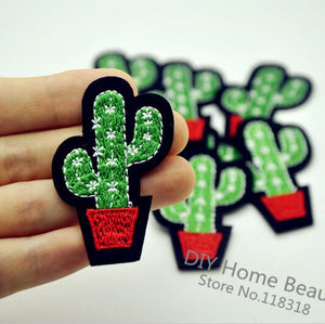3 PCS Cactus Plant Clothes Embroidered Iron on Patches for Clothing DIY Stripes Motif Appliques parches bordados 5.2*3.9 CM @I2