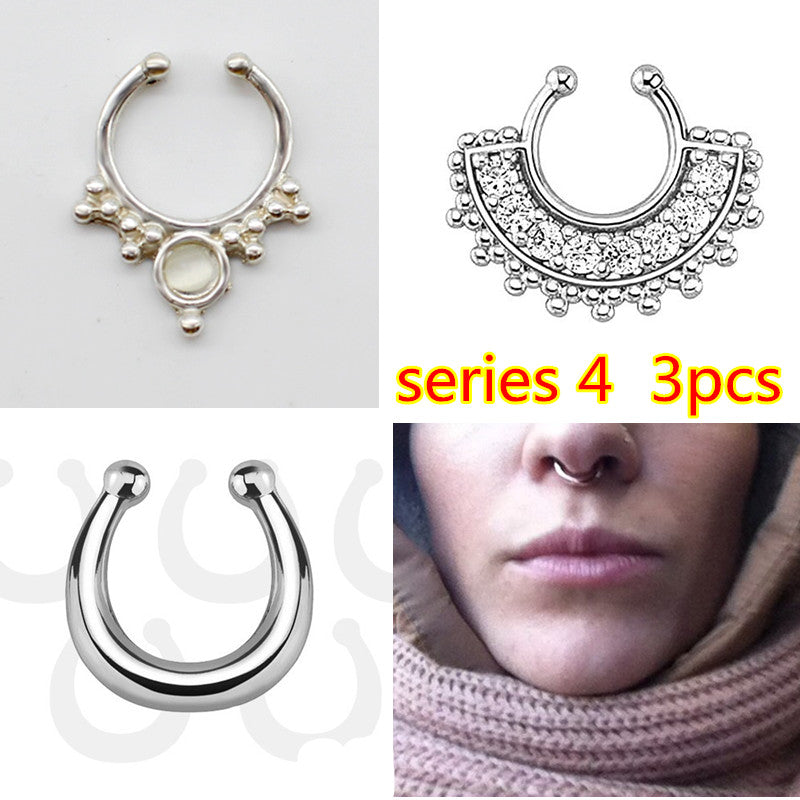 3 PCS New Fashion crystal Fake septum Piercing nose ring Hoop For Women faux clip Rings clicker non trinket Mujer Body Jewelry