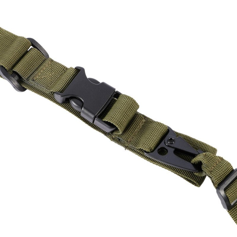 3 Point Rifle Sling Adjustable Durable Tactical Bungee Sling Swivels Airsoft Hunting Gun Strap