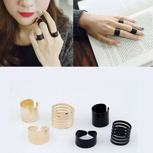 3 pcs Punk Fashion Rings for Women 2017 Girls Anillos Black/Gold Stack Plain Band Midi Ring Set Mid Finger Knuckle Anel Bague