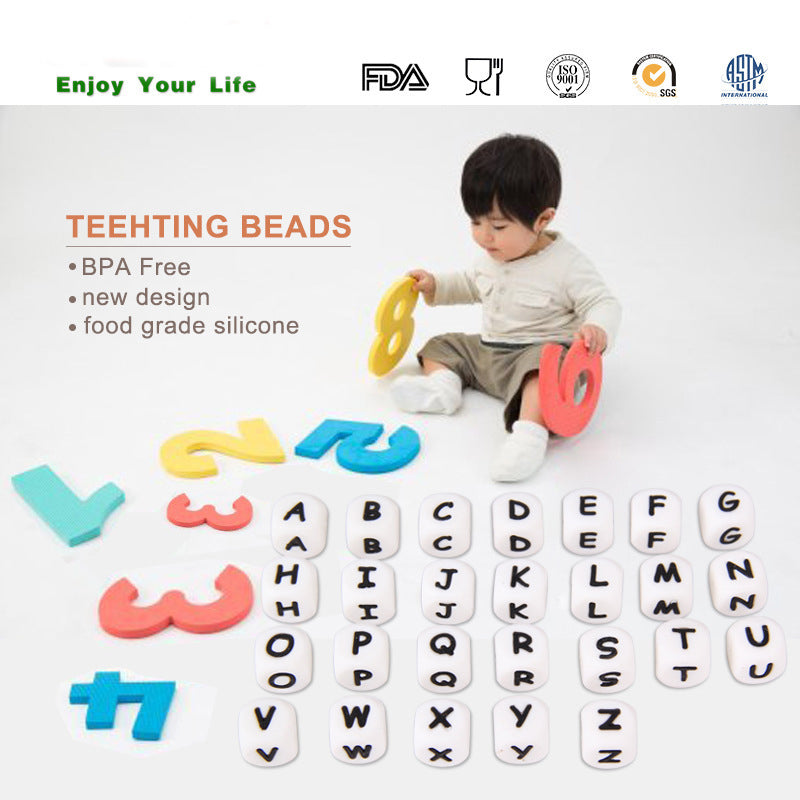 30pc Food Grade Diy 12mm cube Letter Silicone Teething Beads Bpa Free Bead For Baby Teether Necklace And Pacifier Chain JETM.HH
