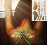 #326 Boho Style Angle Wing Temporary Metallic Tattoo, Hot Sale Gold Body Paint Sexy Women Tattoo Stickers