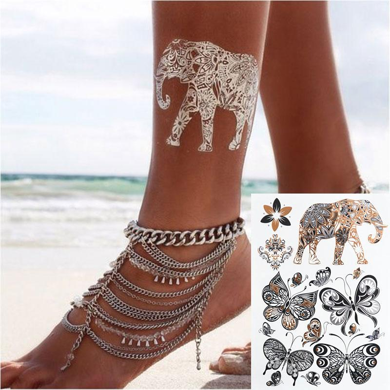 #386 Indian Style Elephant Butterfly Flash Tattoo 2016 New Design Boho Temporary Metal Tattoo