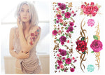#388 Boho Style The Best Trend Flower Rose Temporary Body Tattoo, Women Colored And Metallic Tattoos