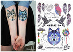 #393 The Best Selling Boho Style Temporary Body Tattoos! Feather Owl Wolf Birds Heart Unisex Tattoo