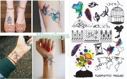 #394 New Trend Temporary Body Tattoo Unisex World Map BirdCage Paper Crane Hipster Must Buy Tattoo Stickers