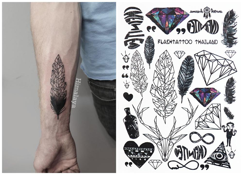 #397 Unisex Temporary Body Tattoo New Trending Leaf Diamond Deer Feather Heart Tattoos