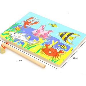 3D Baby Wooden Montessori Magnetic Fishing Games Board Jigsaw Puzzles Kids Toys for Children Funny Educational Birthday Gifts