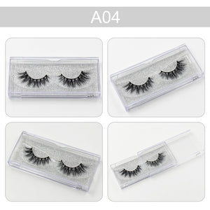 3D Mink Eyelashes Natural Extension Long Cross Thick Mink Lashes Handmade Eye Lashes A01-A19 (blank box available)