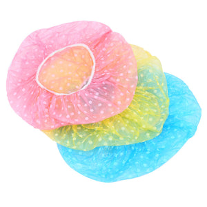 3PCS/lot Cute Dots Women Lady Girl Waterproof Elastic Plastic Shower Bathing Salon Spa Hair Cap Lovely Bath Hat Health Care