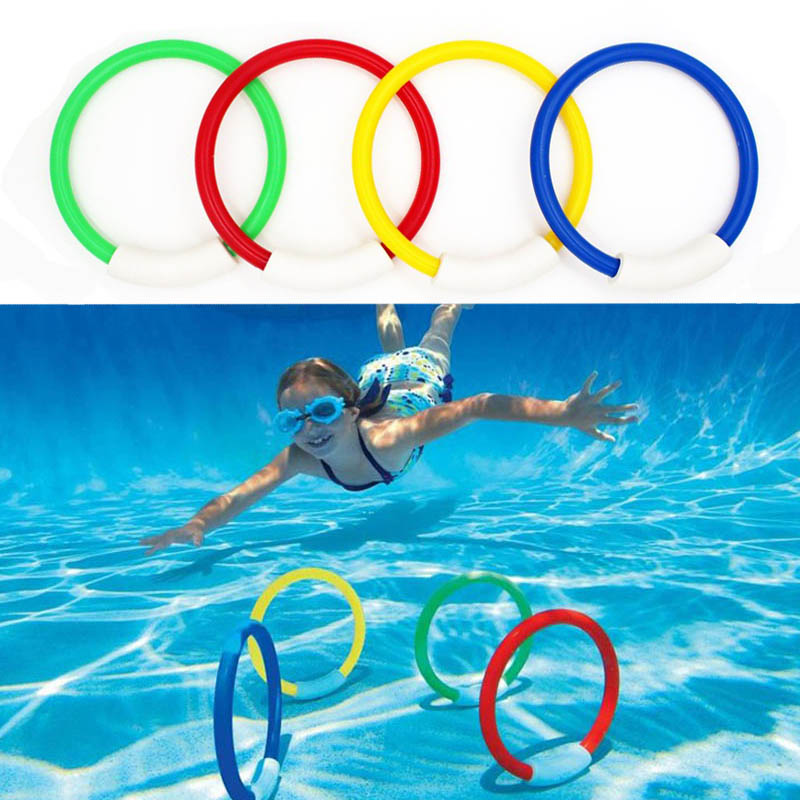 4 Pcs/Pack 2017 Child Kid Diving Ring Water Toys Underwater Swimming Pool Accessories Diving Buoys Four Loaded Throwing Toys