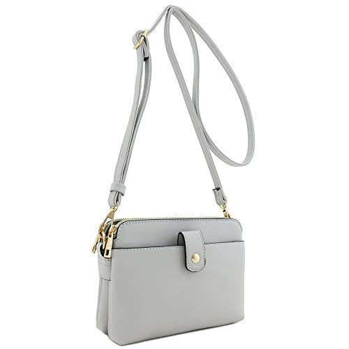 Double Compartment Small Crossbody Bag Light Grey