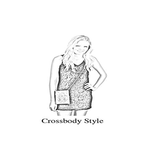 "Crossbody Handbags for Women - BLING, Small Crossover Designer Pouch - TURQ, 6"" x 8"" x 1"""