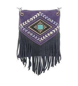 "Crossbody Purse for Ladies - AZTEC FRINGE WITH CRYSTALS, Fashion Shoulder Bag - PURPLE, 6"" X 8"" X 1"""