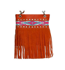 "Crossbody Bags for Women - AZTEC FRINGE, Small Travel Pouch - ORANGE, 6"" x 8"" x 1"""