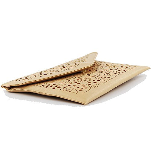 Women Perforated Cut Out Pattern Gold Accent Background Chain Pouch Fashion Clutch Handbag Wedding Party Purses Envelope Evening Day Clutch Bag For Women Ladies 2018 light brown
