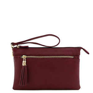 Double Compartment Wristlet Crossbody Bag with Tassel (Burgundy)
