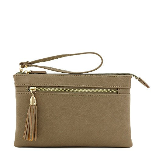 Double Compartment Wristlet Crossbody Bag with Tassel (Dark Brick)