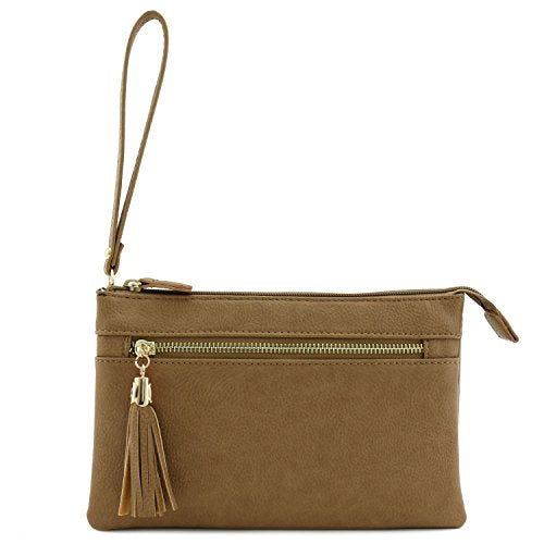 Double Compartment Wristlet Crossbody Bag with Tassel Stone