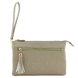 Double Compartment Wristlet Crossbody Bag with Tassel (Dove)
