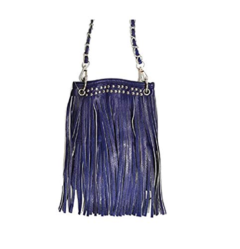 "Ladies Cross Body Handbags - LONG FRINGE, Small Crossover Designer Pouch - BLUE, 6"" x 8"" x 1"""