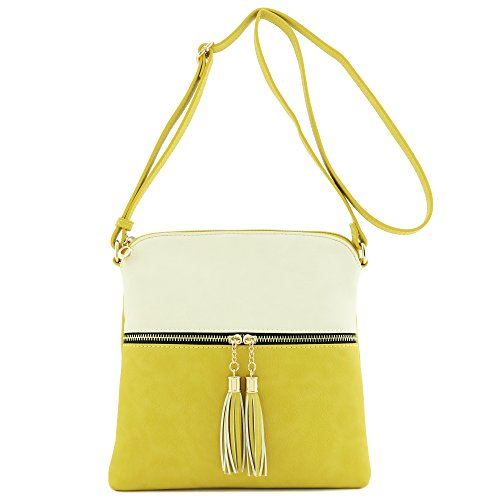 Tassel Zip Pocket Crossbody Bag (Beige/Yellow)