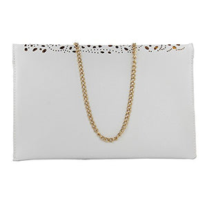 hot sale white Shoulder Handbags hollow out women shoulder bags fashion cute womens leather handbags chain cosmetic makeup cutout bag for ladies hand bag (white)