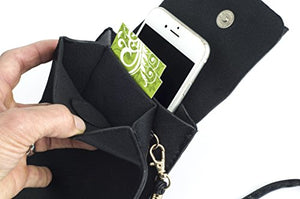 Crossbody Multi-pocket Smartphone Purse (Black)