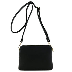 Double Compartment Small Crossbody Bag Black