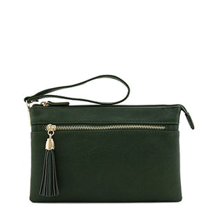 Double Compartment Wristlet Crossbody Bag with Tassel (Olive)