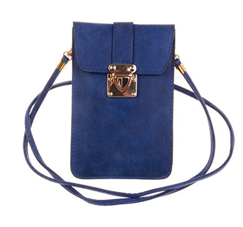 KISS GOLD (TM) Luxury Matte PU Leather Mini Crossbody Single Shoulder Bag Cellphone Pouch (Model A-Blue)