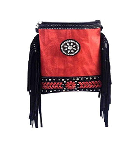 "Fashion Bag for Women - BLING WITH SIDE TASSEL, Zipper Top Travel Purse - ORANGE, 6"" X 8"" X 1"""