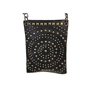"Over the Body Purse for Ladies - CIRCLE DESIGN ANTIQUE COPPER HARDWARE, Designer Bags - BLACK, 6"" x 8"" x 1"""
