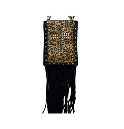 "Fashion Bags for Women - LEOPARD WITH FRINGE, Small Travel Pouch - BLACK, 6"" x 8"" x 1"""