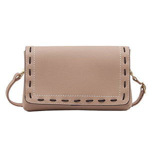 42c0f49e83 Brown Hand Stitching Flap Cross Body Purse Bag Faux Leather Small Handbag  Wristlet for Women (Pink)