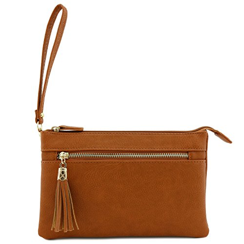 Double Compartment Wristlet Crossbody Bag with Tassel Tan
