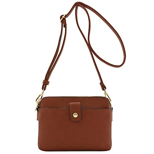 FashionPuzzle Double Compartment Small Crossbody Bag Brown