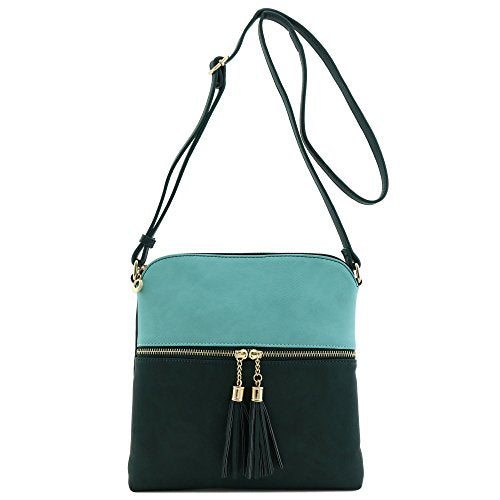 Tassel Zip Pocket Crossbody Bag Blue Green/Hunter Green