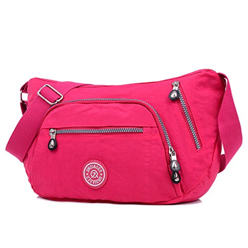 TianHengYi Cute Women's Water Resistant Dumpling Shape Nylon Cross-body Shoulder Bag with Zipper Pockets Rose