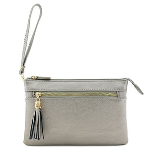 Double Compartment Wristlet Crossbody Bag with Tassel (Light Pewter)