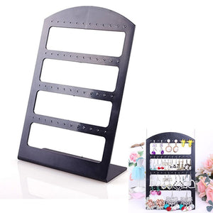 48 Holes Jewelry Organizer Stand Black Plastic Earring Holder Pesentoir Fashion Earrings Display Rack Etagere 2017 #30894