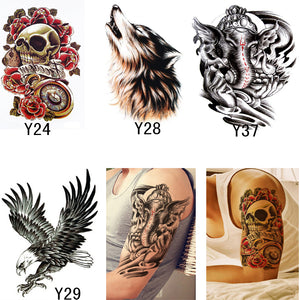 9245264fe 4PCS Metallic Tattoos For Men Waterproof Temporary Tattoo Stickers Body Art  Cool Skeleton Stickers Wolf Fake