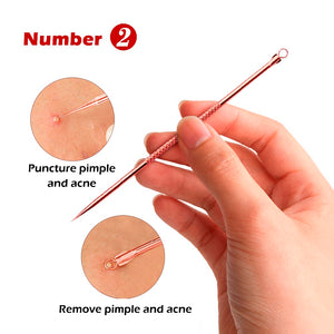 4PCS Rose Gold Acne Removal Needle Pimple Needle Blackhead Remover Acne Treatment Acne Needle Black Mask Acne Extractor Remover