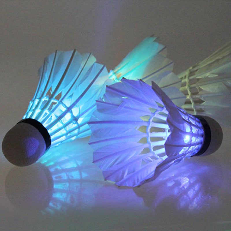 4Pcs Colorful LED Badminton Shuttlecock Ball Feather Glow in Night Outdoor Entertainment Sport Lighting Balls Accessories